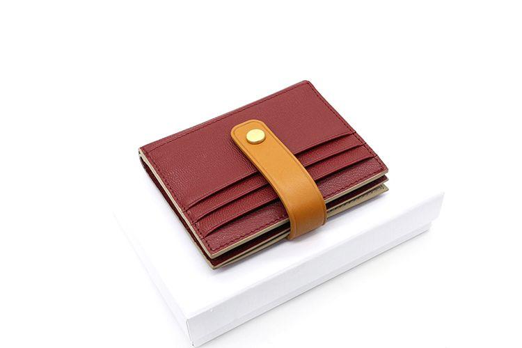 定制日韩山羊皮搭扣女士零钱包卡包撞色多卡位真皮小钱包