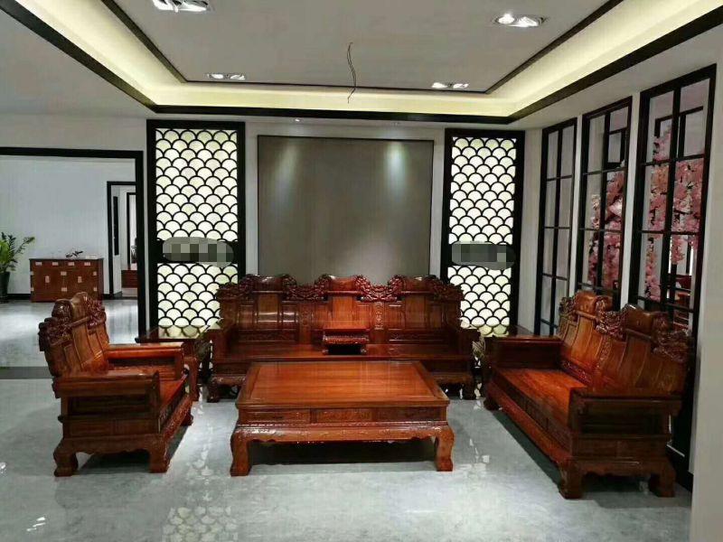 湖南红木家具客厅沙发刺猬紫檀中奔沙发123六件套价格