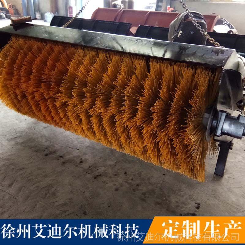 1.8米扫雪滚刷配小铲车价格 滑移装载机配2.1米扫雪滚筒式清雪机