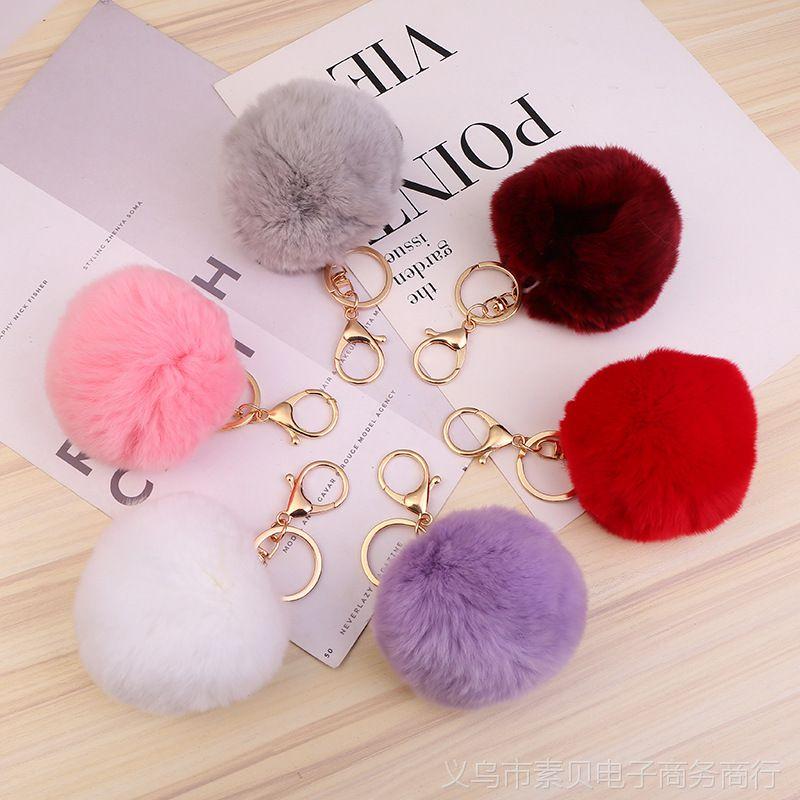 韩版优质超大獭兔毛球钥匙扣 男女士汽车用品包包钥匙链挂件