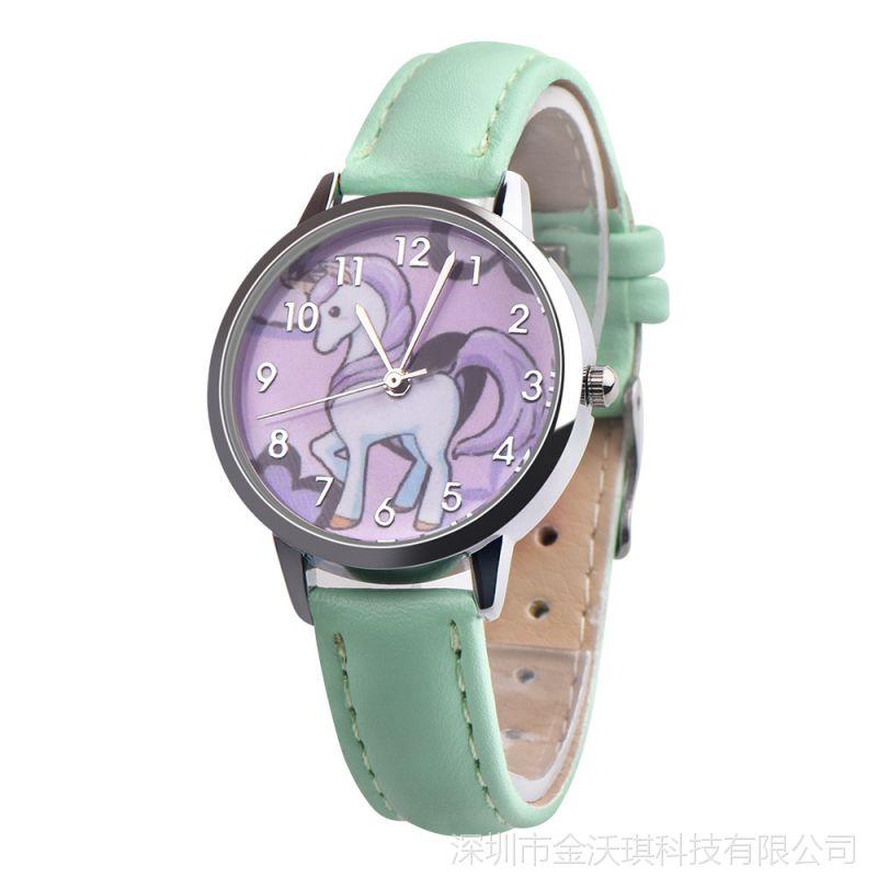 EBAY速卖通热卖 卡通独角兽仿水皮带手表学生儿童真皮皮带手表