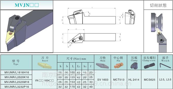 维克数控93度外圆35度菱形车刀杆仿形加工MVJNR/L2020K16