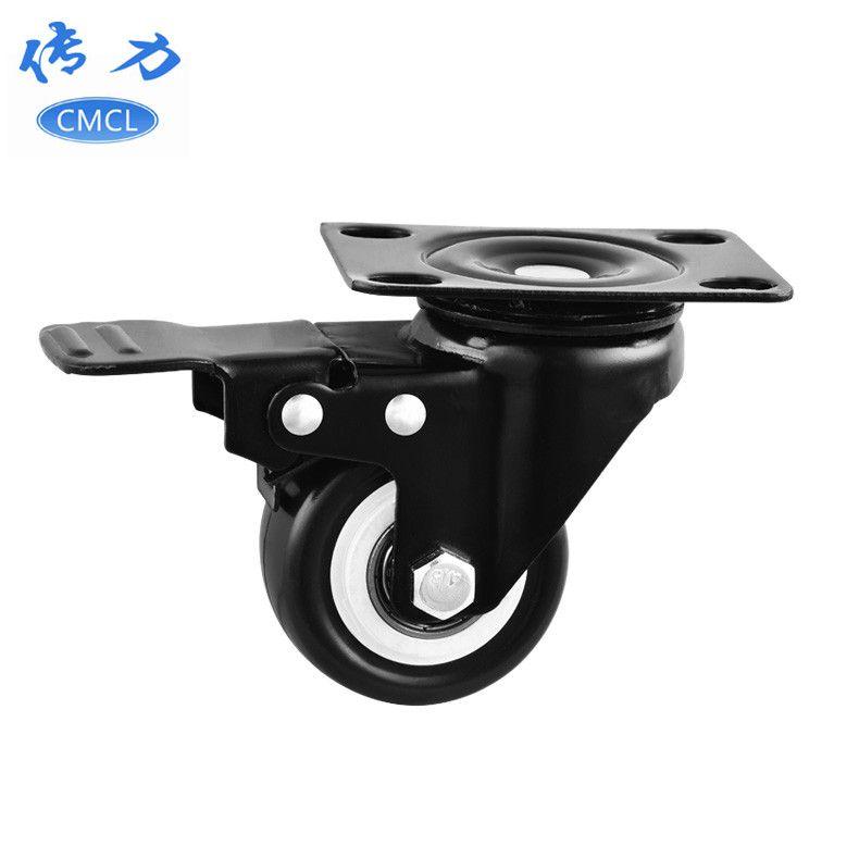 传力供应【黑金刚脚轮】1.5寸金钻脚轮带刹车 可移动折叠餐桌轮子 S01223