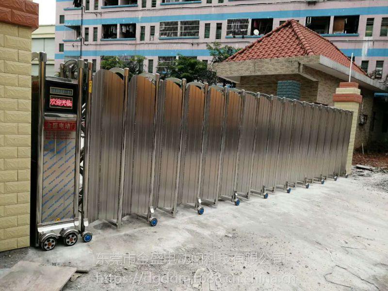 广东金盛电动门伸缩门厂家价格 不锈钢铝合金伸缩门安装