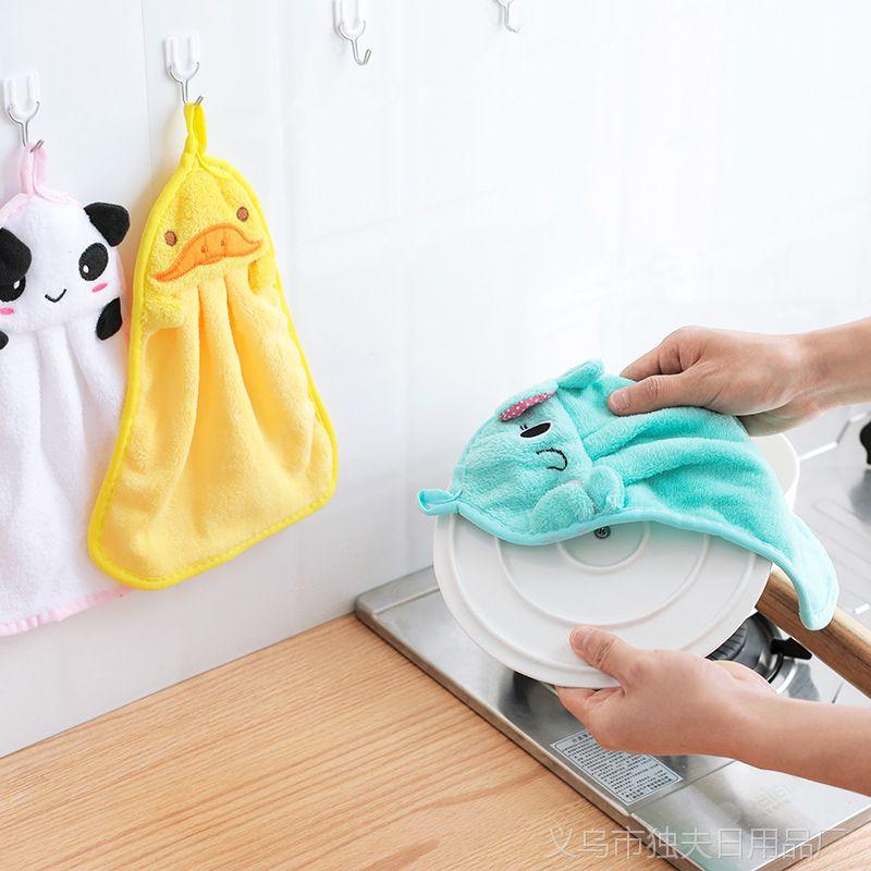 1310卡通挂式擦手巾超强吸水珊瑚绒加厚擦手布厨房抹布洗碗布毛巾
