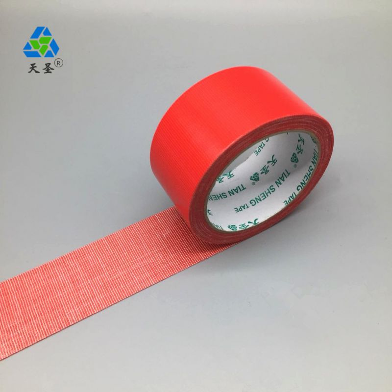南京天圣胶带厂红色布基胶带分切过程