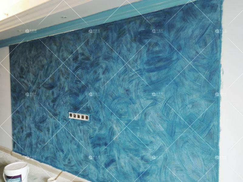 浮斐尼案例 质感艺术漆背景墙 梵高星空系效果 包工包料