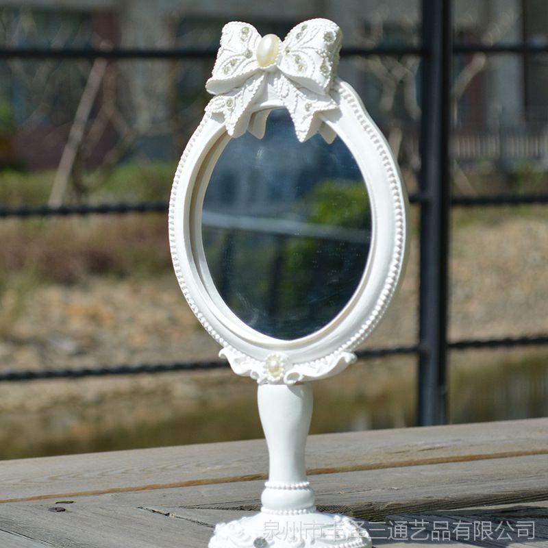 欧佰纳纯白圆形蝴蝶结公主镜台镜梳妆化装美容镜高档时尚摆台摆件
