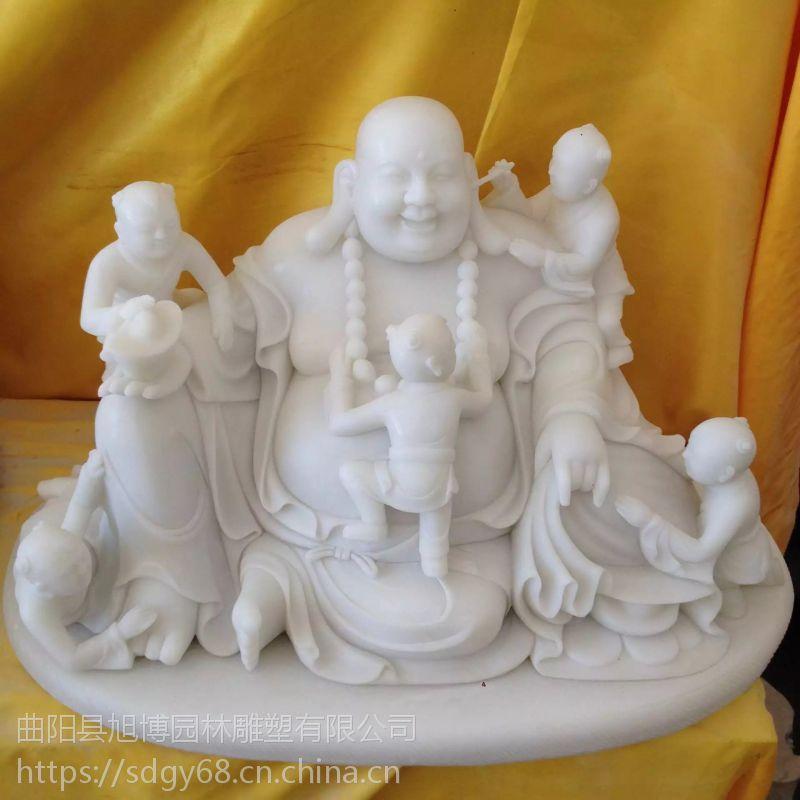 汉白玉五子闹佛石雕弥勒佛像摆件人物雕塑工艺品笑佛