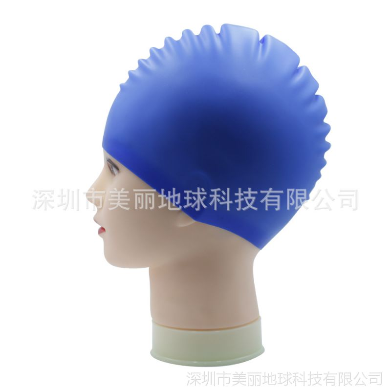 厂家订购健身房长发加大码防水舒适女士专用护耳时尚花色硅胶泳帽