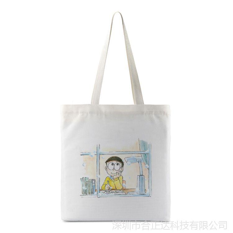 卡通动漫大雄帆布袋女单肩包手提袋定制折叠布包环保购物袋收纳袋