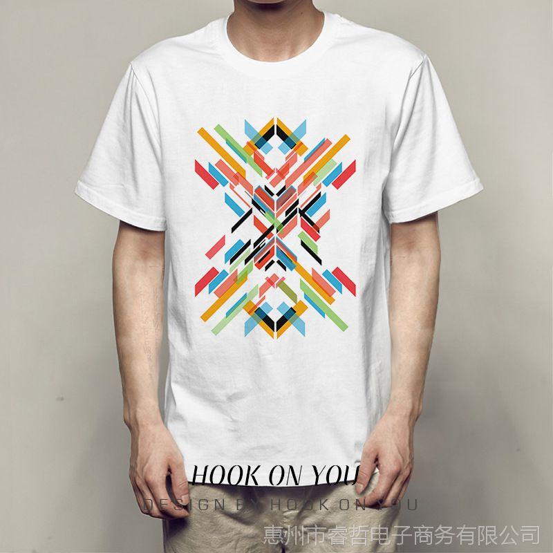 hiphopoversizes短袖圆领嘻哈彩色创意涂鸦印花百搭莫代尔T恤衫款