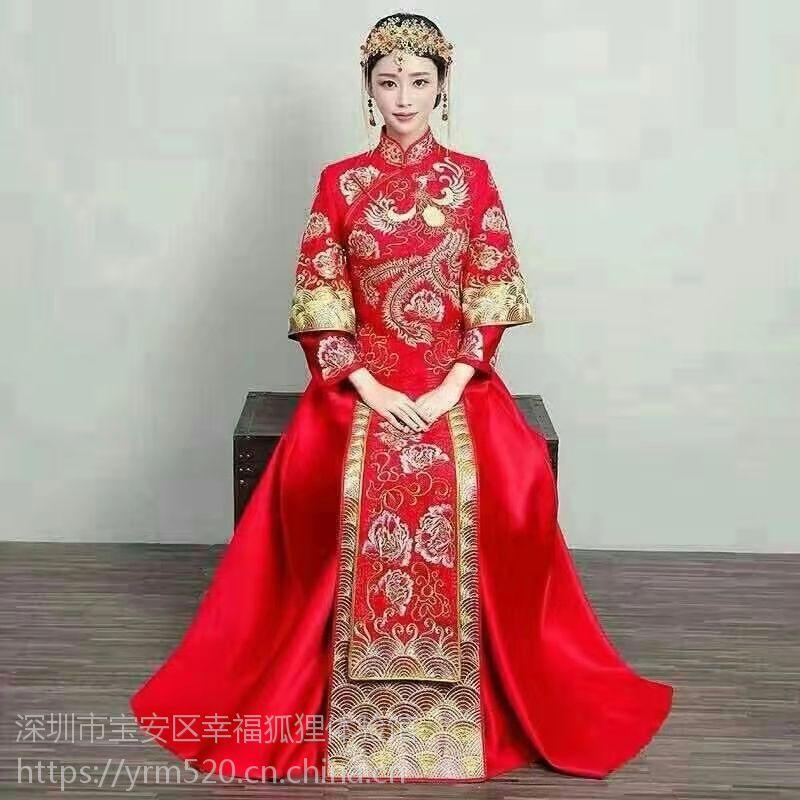 定制出售秀禾服龙凤褂宝安(福永、松岗、沙井)婚纱礼服中式秀禾礼服工厂店