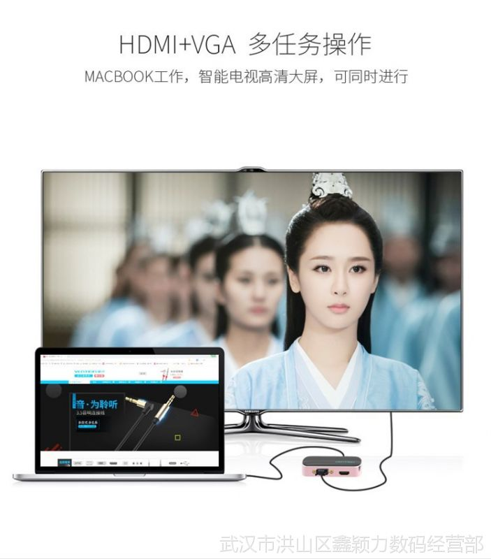 Type-C转换器扩展器USB适用苹果电脑MacBook VGA视频转接头线HDMI