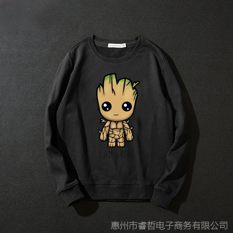 外贸新款电影银河护卫队 格鲁特 树精 Groot男士圆领卫衣