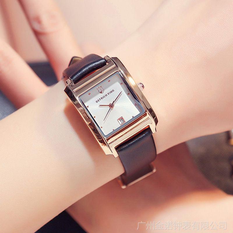 2018新款鸵鸟王真皮女士长方形手表女日历简约气质时装表手表批发