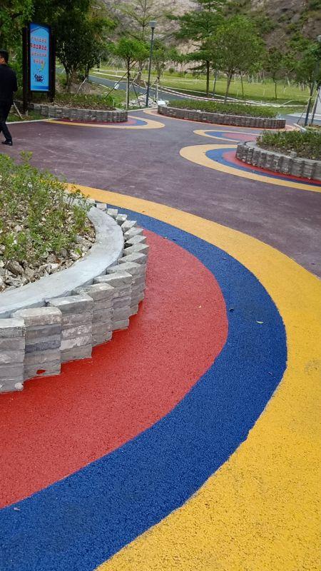 完工后的彩色路面,广东利健新材料有限公司施工