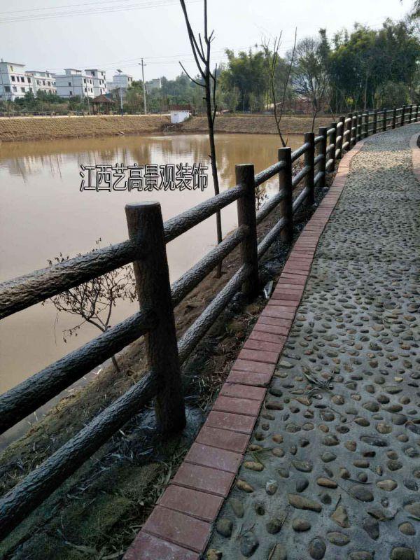 江西水泥仿木栏杆厂家,景观仿木护栏施工制作
