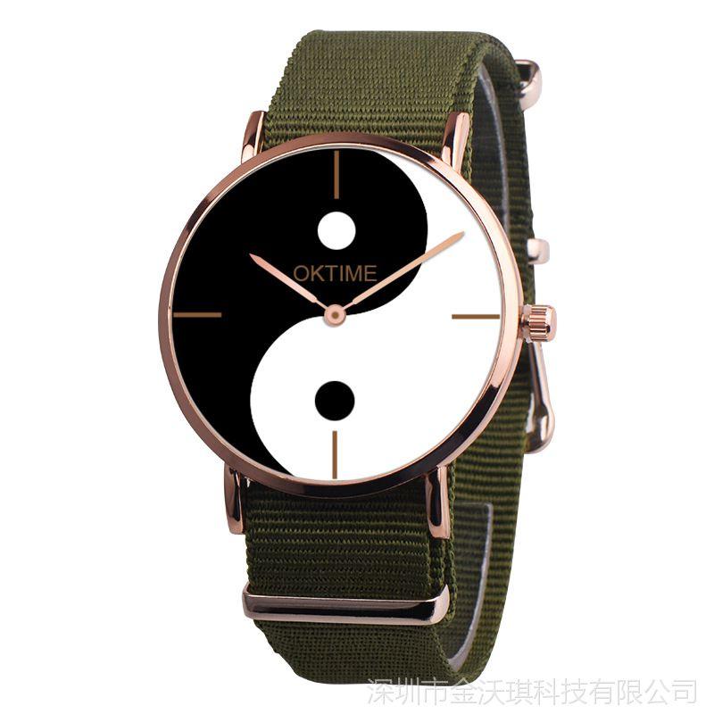 外贸热卖 男潮时尚太极防水手表学生男生女生帆布带超薄石英手表