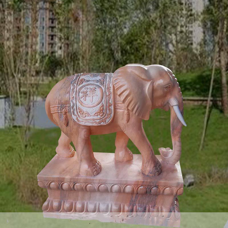 石雕大象晚霞红门口招财镇宅如意象摆件一对大理石喷水吸财雕塑曲阳万洋雕刻厂家定做