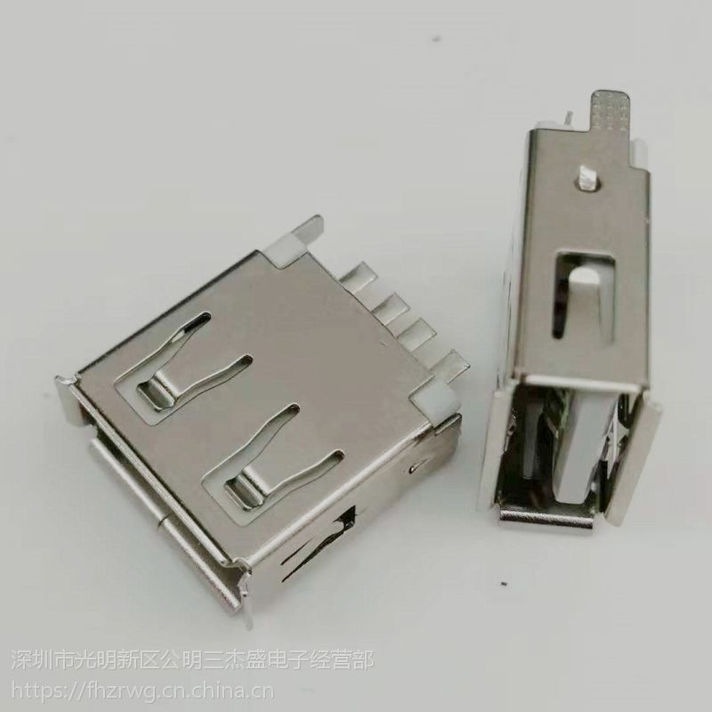 USB 2.0焊线式母座 4PIN 180度焊线 带接地脚 卷边 白胶 带护套 带凸包-创粤