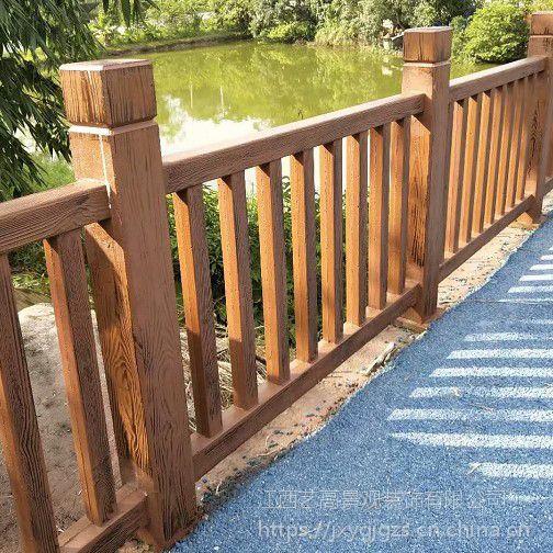 仿树皮围栏仿竹栏杆生产厂家,各种户外仿石仿木栏杆建造过程,仿藤河堤水泥护栏预制栏杆