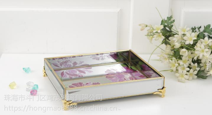 珠海玻璃托盘定做 家居卧室摆件 托盘系列 婚庆用品