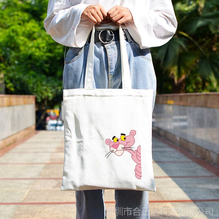 日系少女心chic粉红豹便携布袋软妹定制帆布袋女单肩包手提杂物袋