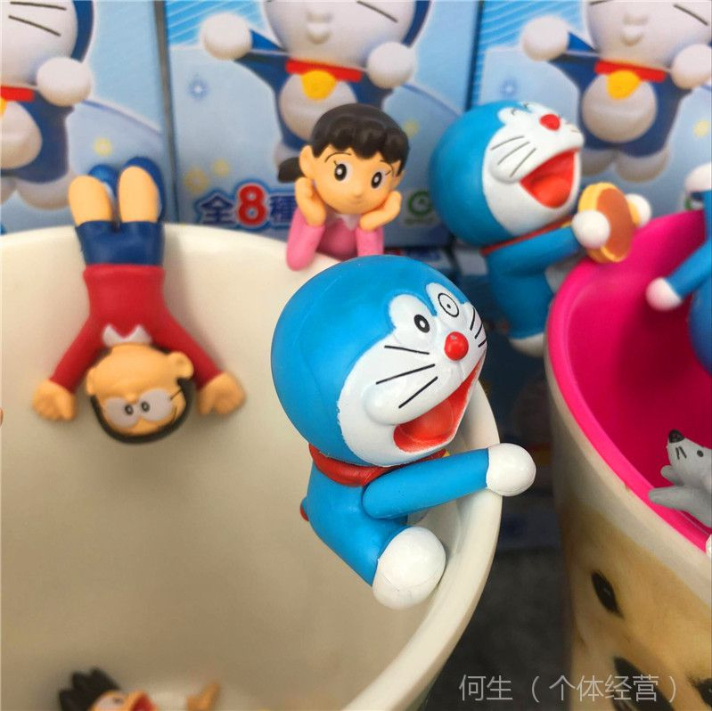 日本卡通 哆啦A梦 机器猫 小叮当8款杯缘公仔 茶友挂饰系列盲盒装