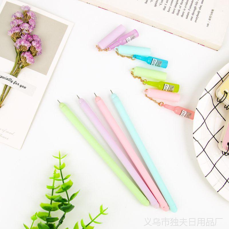 韩版创意卡通中性笔 挂件吊坠酒瓶签字笔水笔小清新学生考试专用