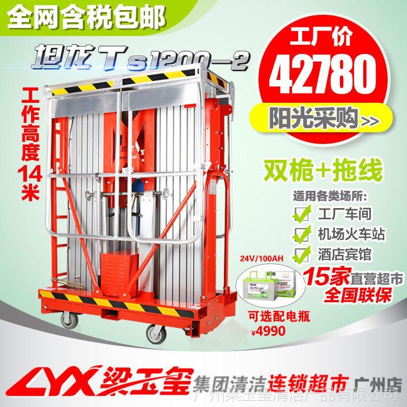 坦龙电动双桅柱式升降机物业12m高空作业平台高空维修升降平台