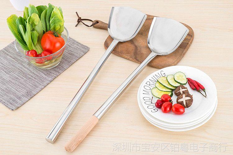 炒菜家用无磁不锈钢视频炒勺马勺厨师长柄加厚谢丽儿厨师图片