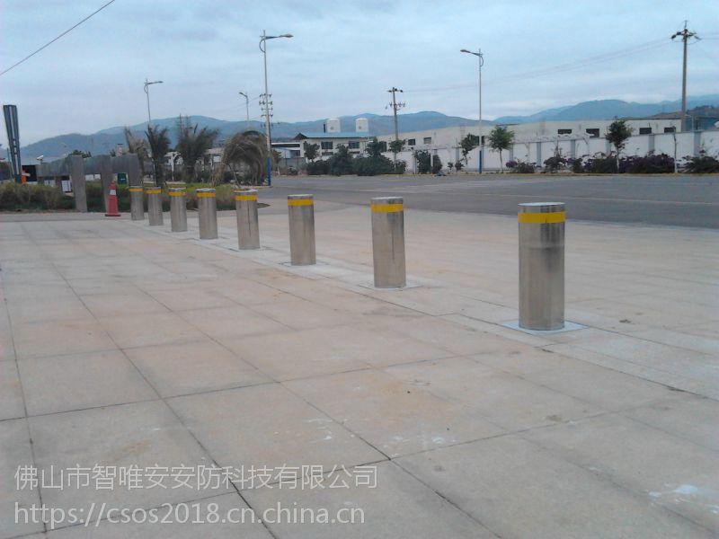 湖北武汉学校安装液压阻车路桩,荆州小区门口不锈钢埋地升降柱
