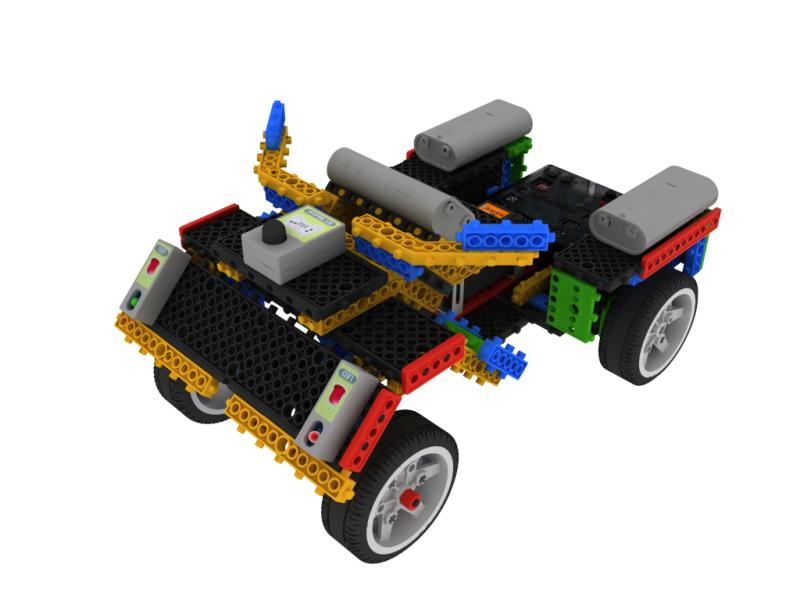 韩端教育竞赛机器人可实现巡线功能行走六面体小颗粒积木
