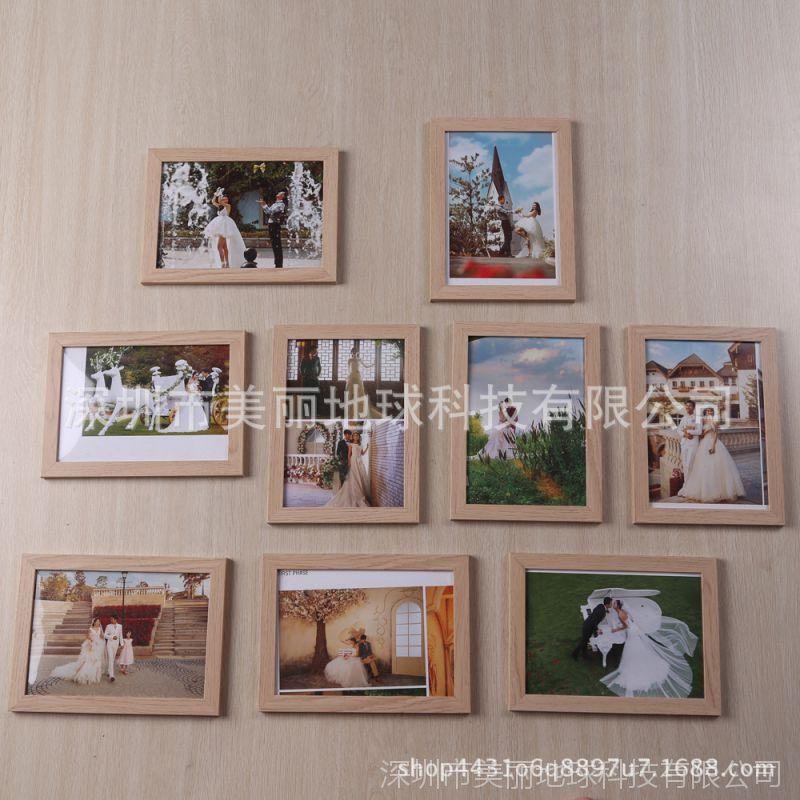 家实木照片墙相框现代清新客厅创意相片北欧式组合美式复古九宫格