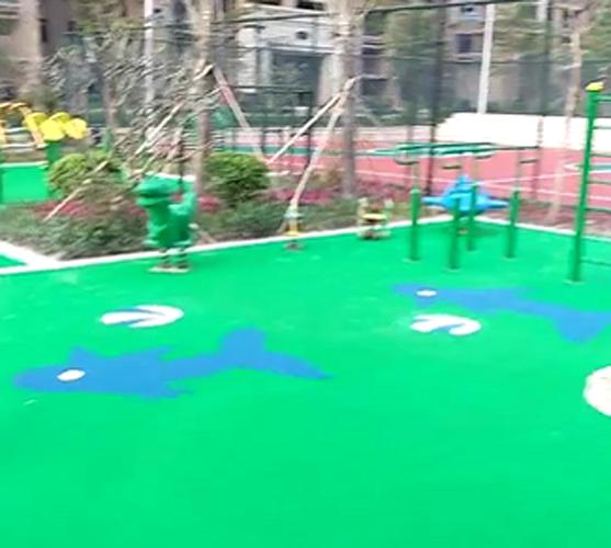 小区体育设施_地面EPDM塑胶颗粒施工_儿童滑滑梯_球场施工
