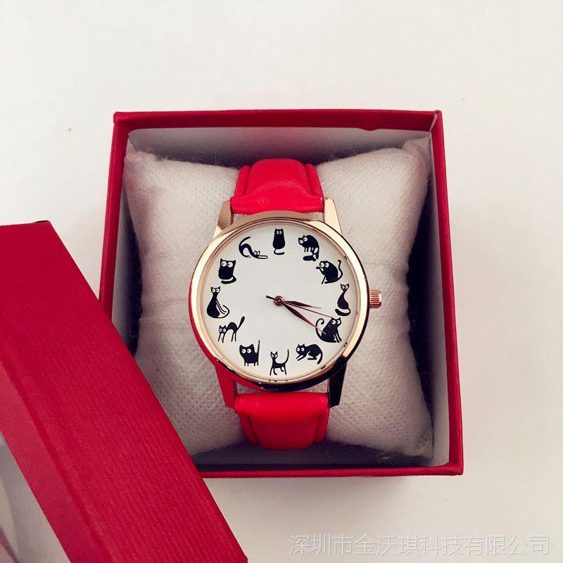 厂家批发 百搭新款 卡通小猫皮带手表 可爱小清新女表
