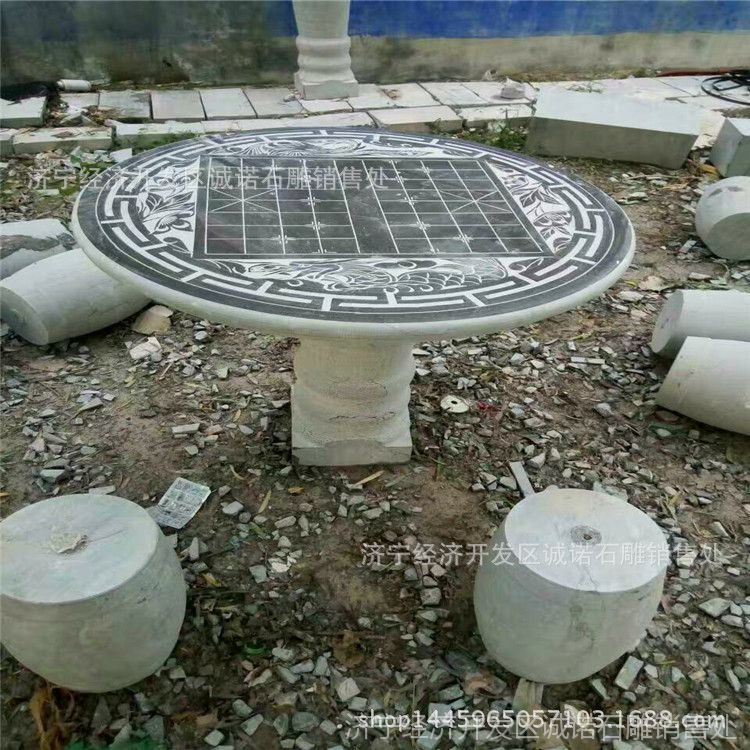 厂家专业生产直销仿古石桌石凳 公园摆放花岗岩长凳 庭院石材圆桌