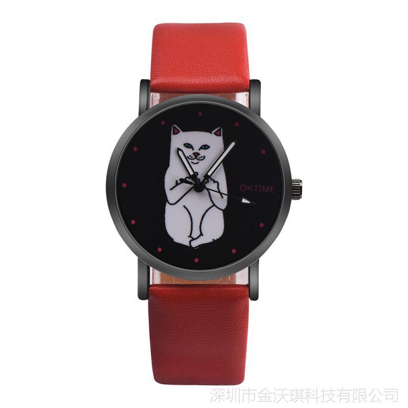 2017新款OKTIME手表黑底中指猫时尚潮流款女生女士腕表石英表女表