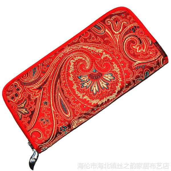 中国风女士钱包钱夹厂家创意丝绸织锦缎包包 女士钱包长款可定制