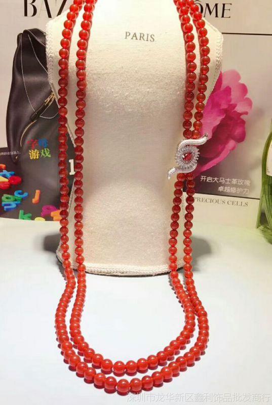 微镶眼睛流苏挂件 珍珠毛衣链隔层配饰 DIY饰品配件