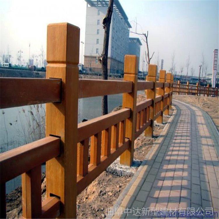 中达建材厂家供应河提水泥仿木护栏 混凝土仿木栏杆