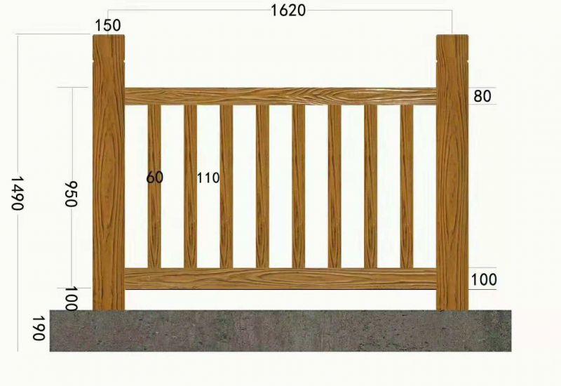 水泥仿木栏杆,仿木围栏,混凝土仿木护栏