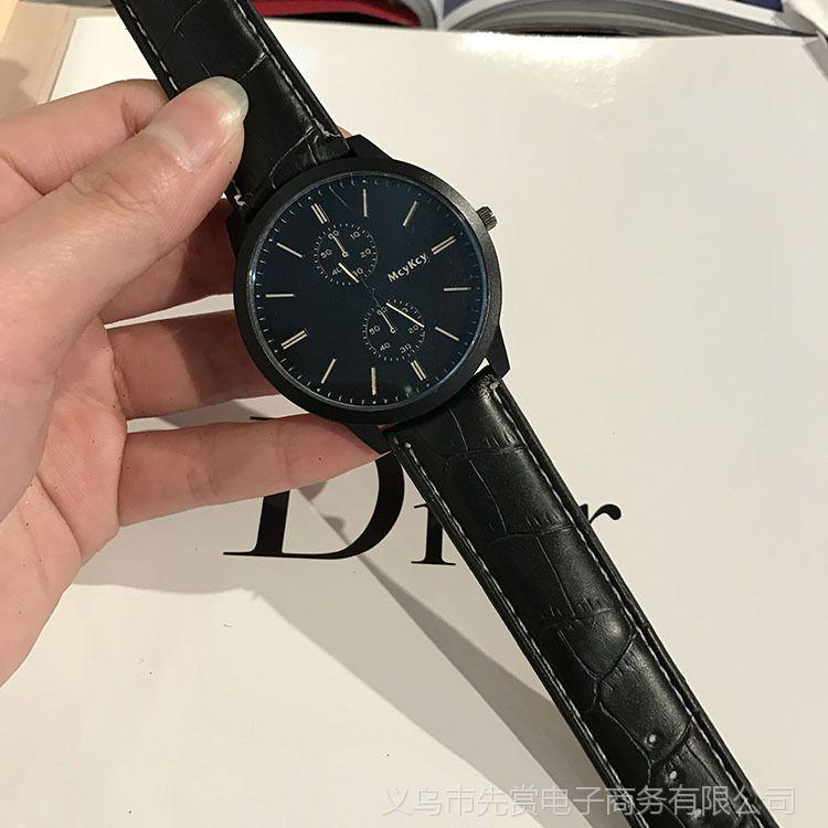 速卖通亚马逊wish外贸正品黑壳磨砂石英表休闲男女款真皮带手表