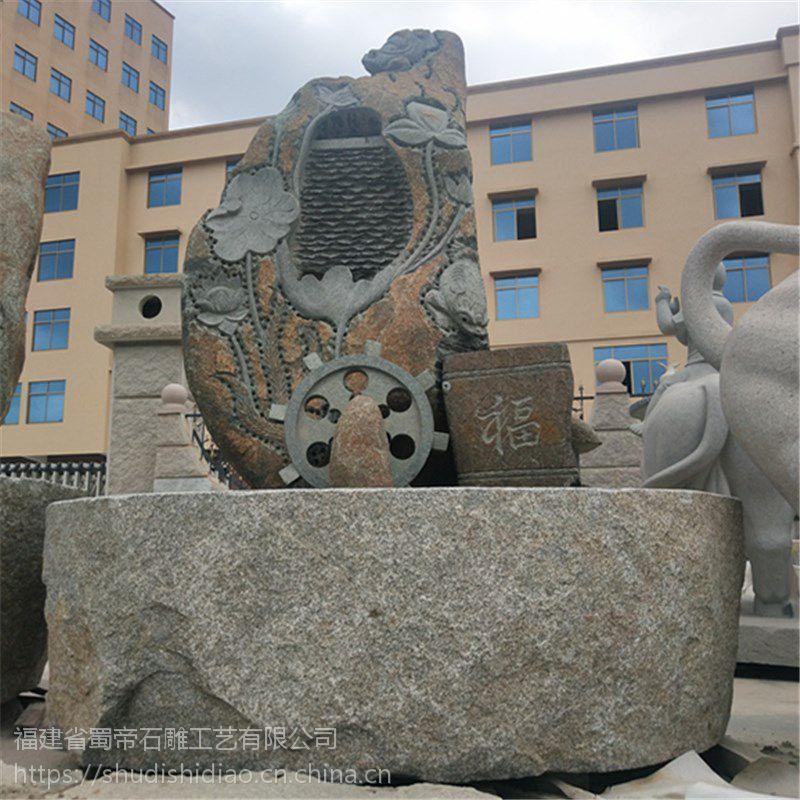 惠安厂家定制石雕花岗岩盘龙流水景雕刻 庭院假山装饰流水摆件