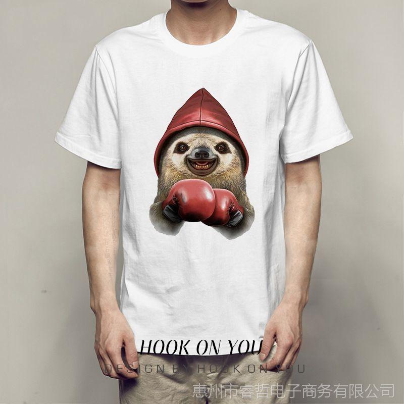 拳击小动物系列印花Ulzzang原宿风男女百搭休闲莫代尔打底T恤衫热