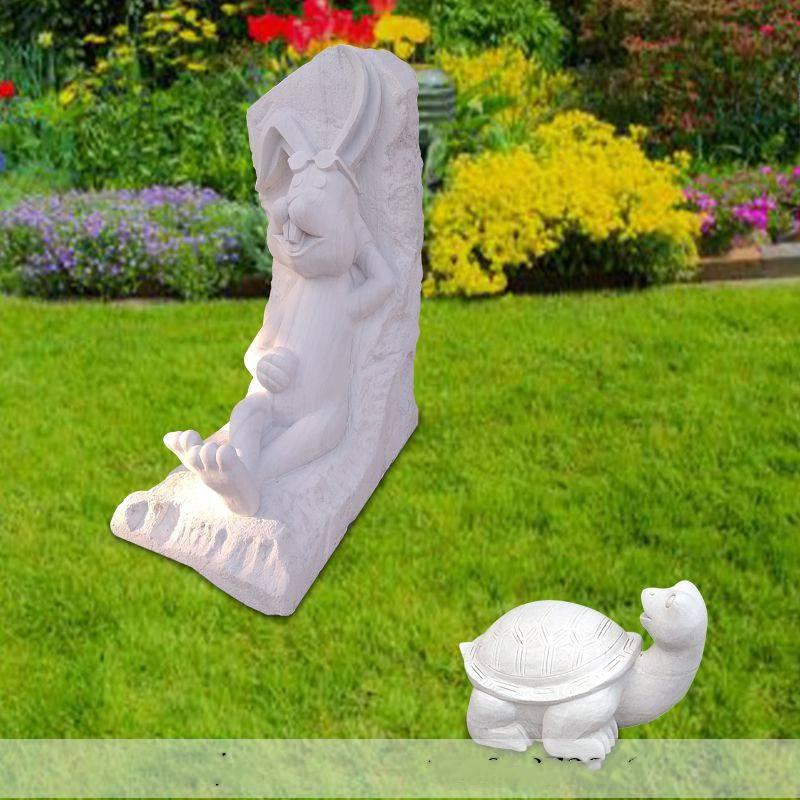 石雕龟兔赛跑卡通动物校园公园寓意雕塑摆件一套曲阳万洋雕刻厂家定做