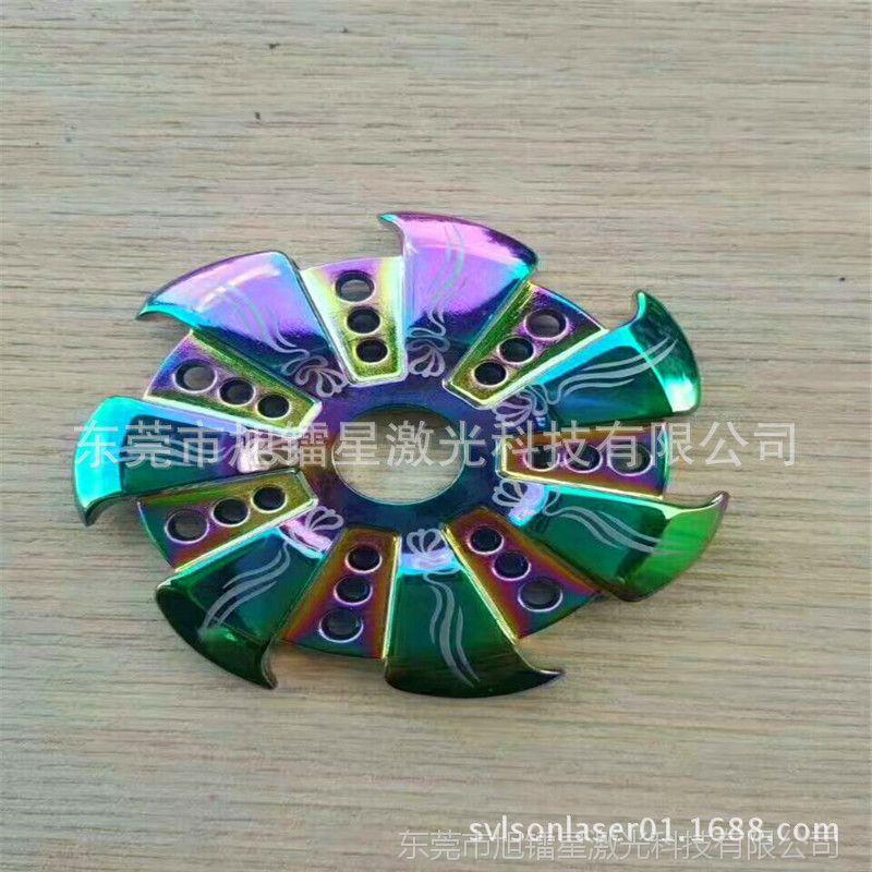 三指六指陀螺雕刻花纹图案机塑料件木刻画激光切割機可出口效率高