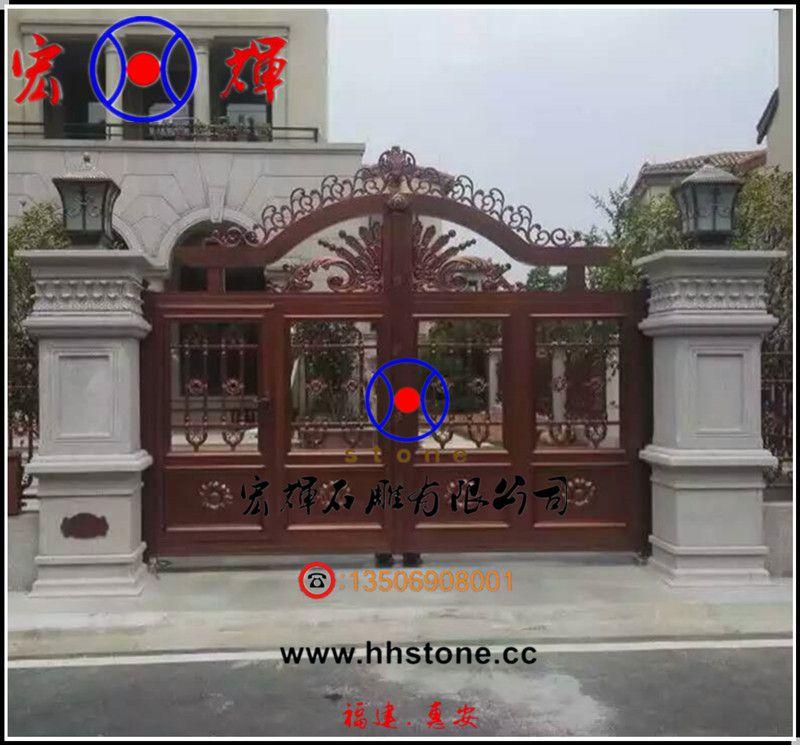 专业生产石雕大门柱 花岗岩门柱(宏辉石材装饰)