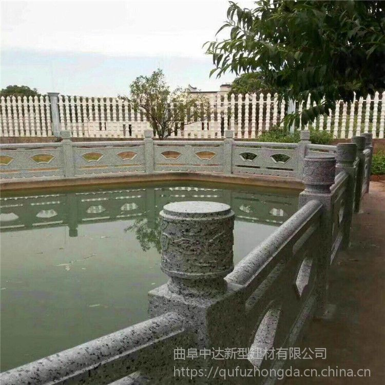 济宁优质水泥汉白玉石头栏杆生产厂家 水泥扇形仿石河堤护栏